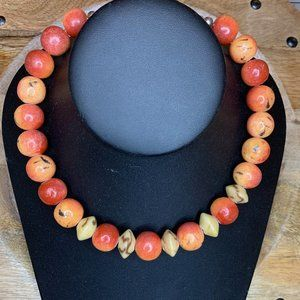 Emily Ray Apple Coral Bead/925 Necklace